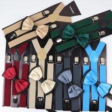 Conjunto de laço e laço para homens e mulheres, suspensório de poliéster e com duas cores, ajustável, cor lisa elástico