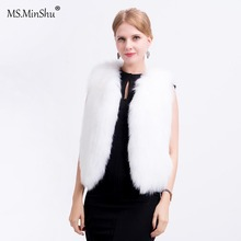MS. minShu Vrouwen Echt Vossenbont Vest Hand Gebreide Fox Fur Vest Licht Echt Bont Vest Gilet Vos bont jas met voering