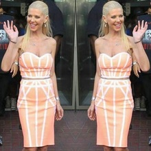 High Quality HL 2 Pieces Set Orange and Pink Rayon Bandage Dress Celebrity Party Bodycon Dress