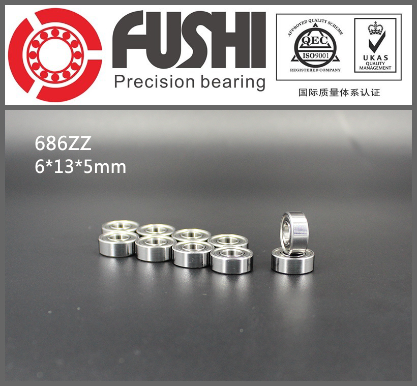 686ZZ Bearing ABEC-5 10PCS 6x13x5mm Miniature 686Z Ball Bearings 618/6ZZ Z3V3 EMQ Quality Rulman 10pcs skate board bearing 686zz 686 2z 686 z 6x13x5 mm 2015 new coming shoe bearing abec3
