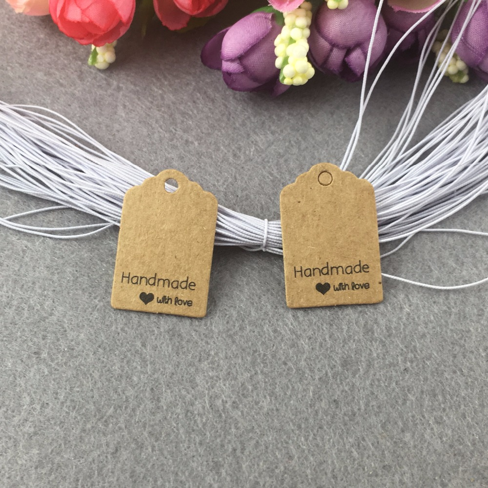 500PCS Handmade With YOU Tags +500PCS Strings Kraft Packaging Labels DIY Gift Tags Paper Card Accept Custom Logo Add Extra Cost