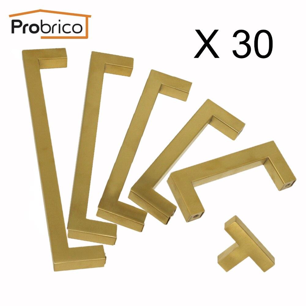 Probrico Kitchen Cupboard Pulls Knobs Cabinet Door Wardrobe Handles Hardware Dresser Pulls Closet Knobs Golden Brass