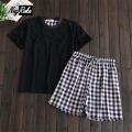 2017 summer 100% cotton short sleeve plaid shorts casual male sleepwear Korean style simple pajama sets for men pijama hombre