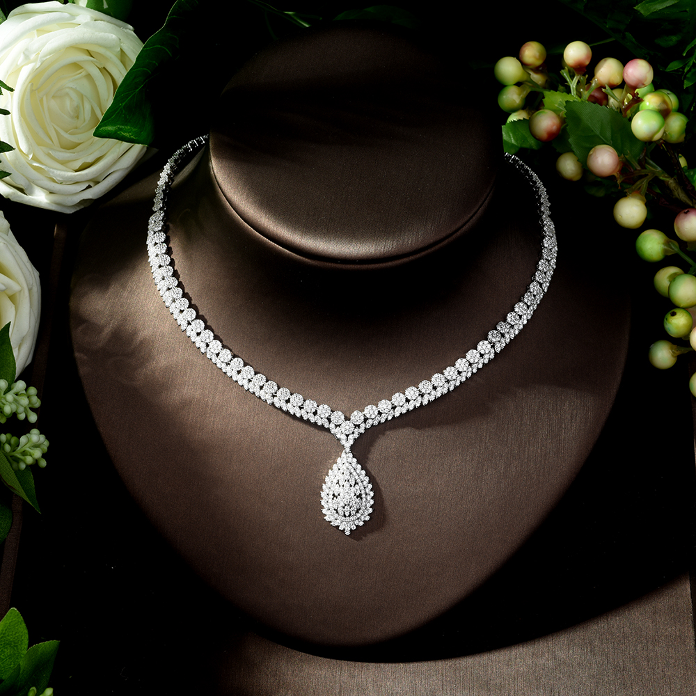 HIBRIDE Luxury Bridal Jewelry Set With Cubic Zirconia Party Wedding Saudi Arabic Dubai Necklace&Earring&Bangle&Ring Sets N-247