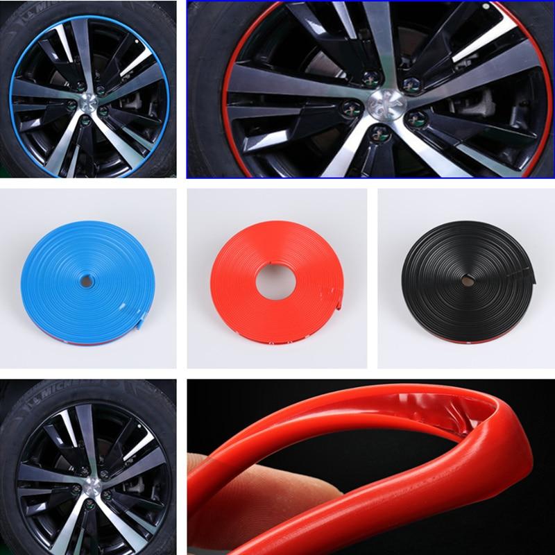 8M Car Wheel Hub Sticker Strip Rim Tire Protection for Peugeot RCZ 206 207 208 301 307 308 406 407 408 508 2008 3008 4008-6008
