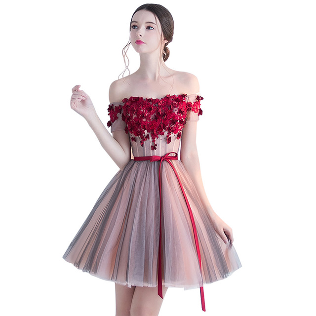Beau Fashion Beautiful Wine Red Flower Lace Women Cocktail Dresses