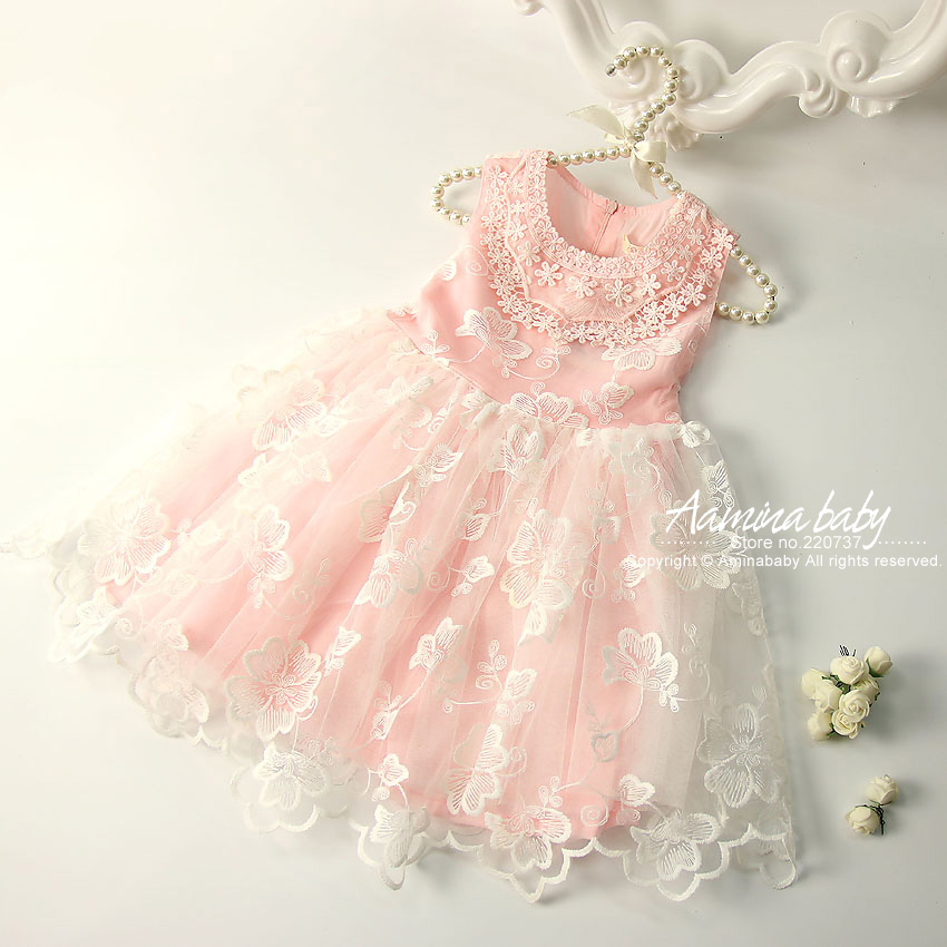 Pink & White Floral Lace Princess Girls Dress Sundress Tutu Kids Dresses For Girls Summer Dress Wholesale Baby Girl Clothes 1809 2016 summer baby flower girls lace princess dress children lolita style party tutu dresses girl pink floral dress kids clothes