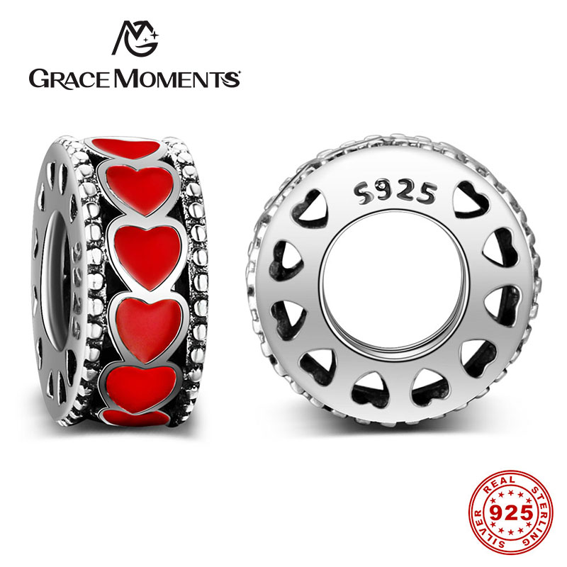 GRACE MOMENTS Pure 925 Sterling Silver Hot Love Within Spacer, Red Heart CZ Beads Fit Or ...