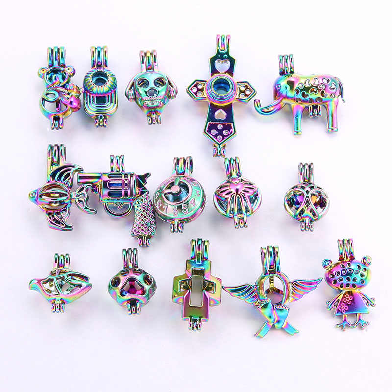 10pcs a package Rainbow color Silver black Fashion Jewelry Making Pearl Cage Locket Pendant Essential Oil Diffuser Fun jewelry