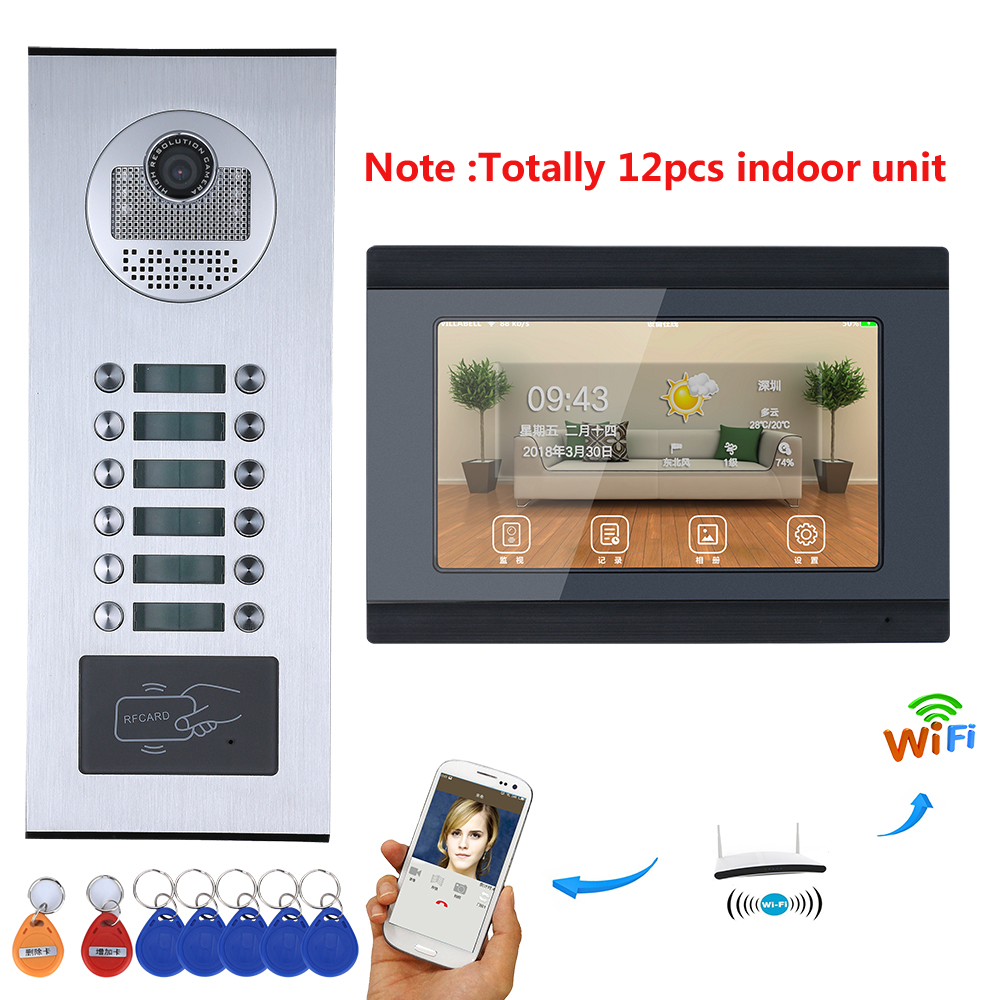 7 Inch Record Monitor Wifi Wireless Video Door Phone Doorbell Intercom System  8/9/10/11/12 Apartments RFID IR-CUT 1000TVL