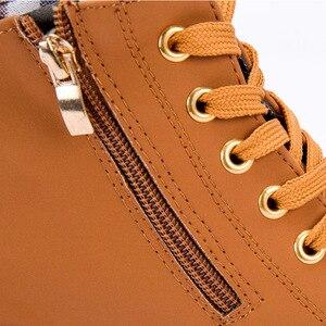Image 5 - Di alta Qualità Lace up scarpe delle signore della donna DELLUNITÀ di elaborazione di moda in pelle stivali alti talloni delle donne 2020 nuovo autunno inverno delle donne caricamenti del Sistema della caviglia