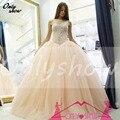 Lindo Cristal Frisado Vestidos De Vestidos Quinceanera Vestidos de Baile Querida Tulle Zipper Pageant Vestido Para 15 Anos
