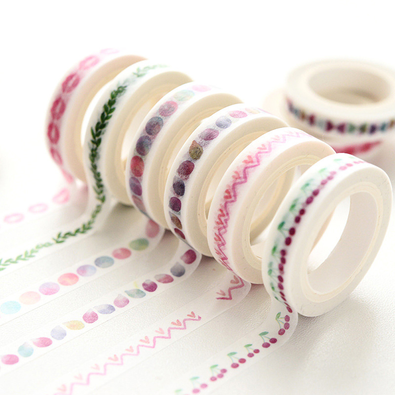 Korean Stationery DIY Kawaii Thin Washi Tape Masking Tape Stickers Scrapbooking Decorative Adhesive Tape For Office School Tools jianwu 15mmx7m creative fresh time washi tape shaft week plan and notebook diy decorative paper tape stickers office stationery