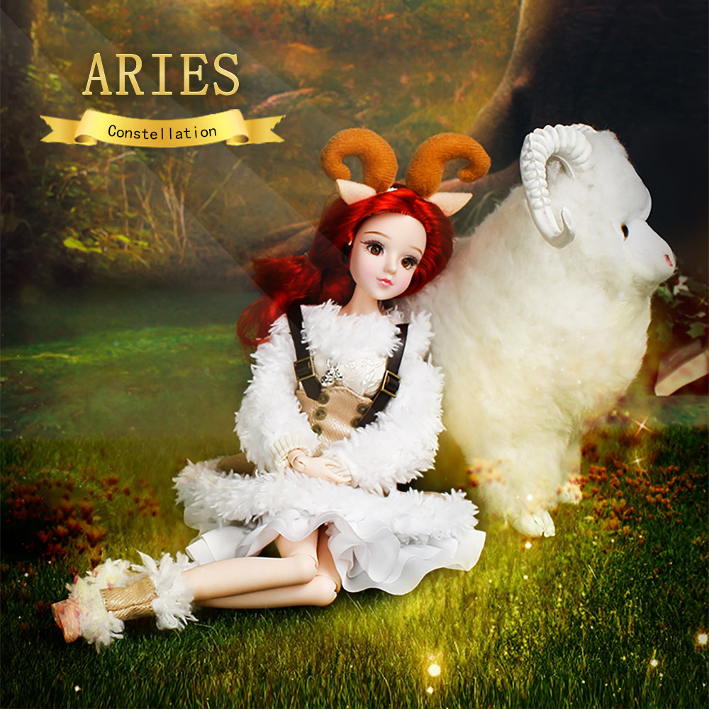 Fortune Days MMGirl 12constellation Aries Like BJD Doll 1/6 30cm white cute dress 14 joint body dolls toy gift
