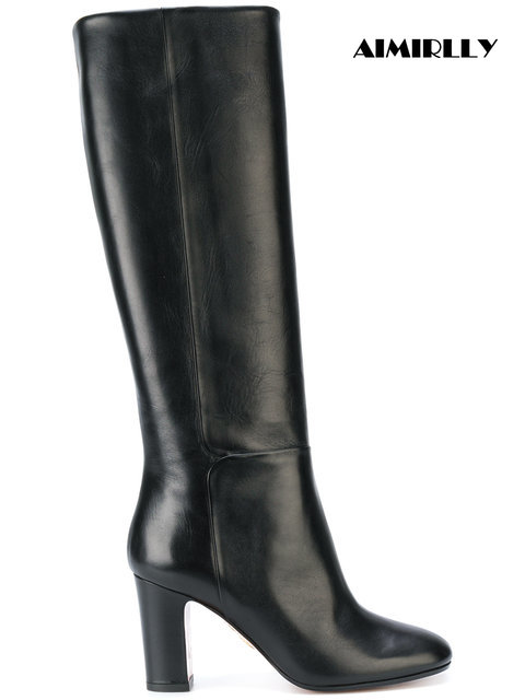 Aimirlly Women Round Toe Block Heel Knee High Boots Pull On Black Brown PU Custom Shoes