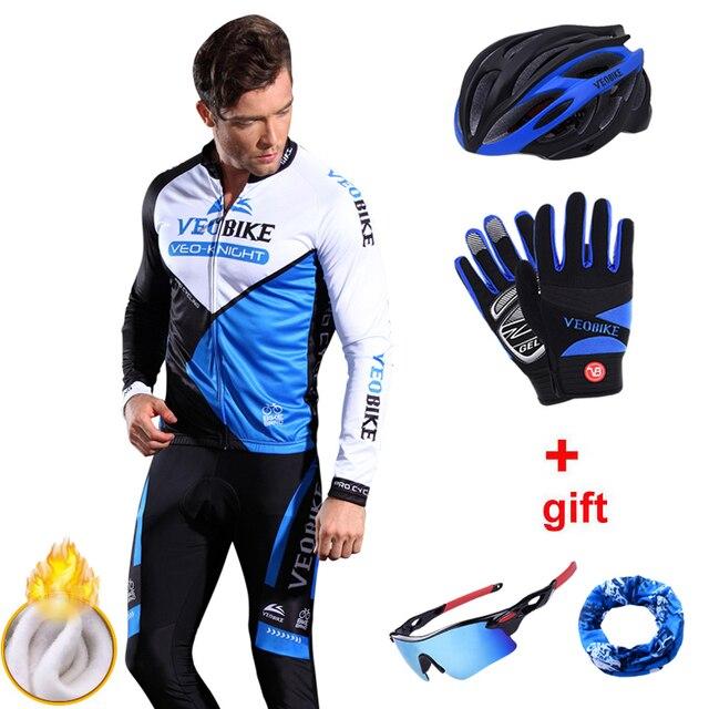 Invierno Polar térmico cálido ciclismo Jersey conjunto largo bicicleta de montaña  ropa hombres Mtb desgaste Pro 5556ff34d50c1