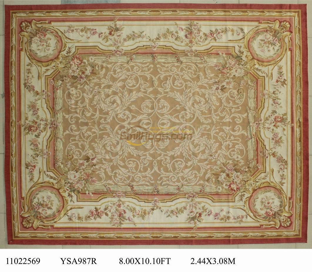 wool carpet french aubusson rugs 8u0027x 101u0027 blue area rug beige - Aubusson Rugs