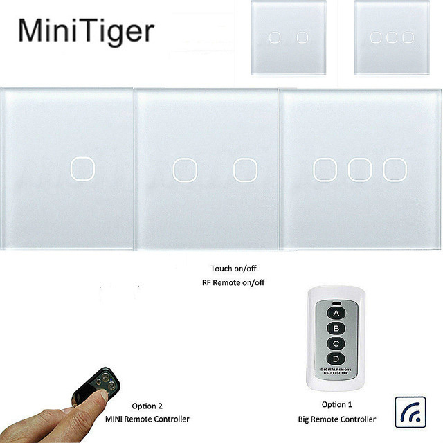 Minitiger Touch Switch 1 2 3 Gang 1 Way Wireless Remote