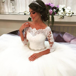 JIERUIZE White Lace Appliques Ball Gown Wedding Dresses 2019 Crystal Sash Button Back Wedding Gowns robe de mariee trouwjurk 4