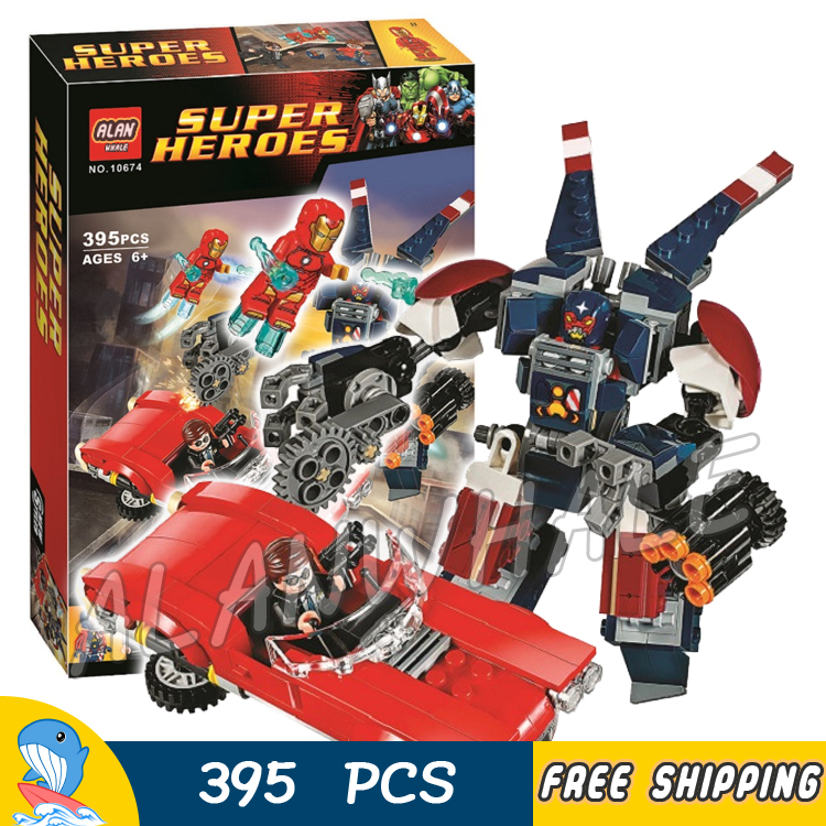 395pcs Super heroes Avengers Detroit Steel Strikes Robots Mech 10674 Model Building Blocks Toys Bricks Compatible With Lego