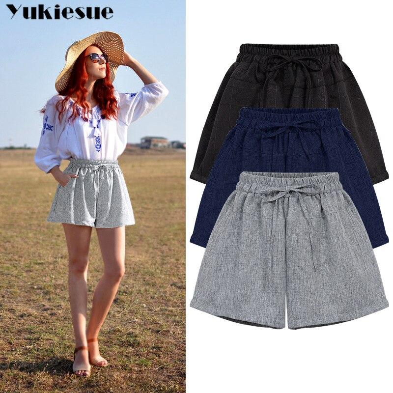 Summer Women's Shorts Femme Female High Waist Cotton Linen Ladies Short Hot Pants For Women Shorts Woman Plus Size Womens Shorts