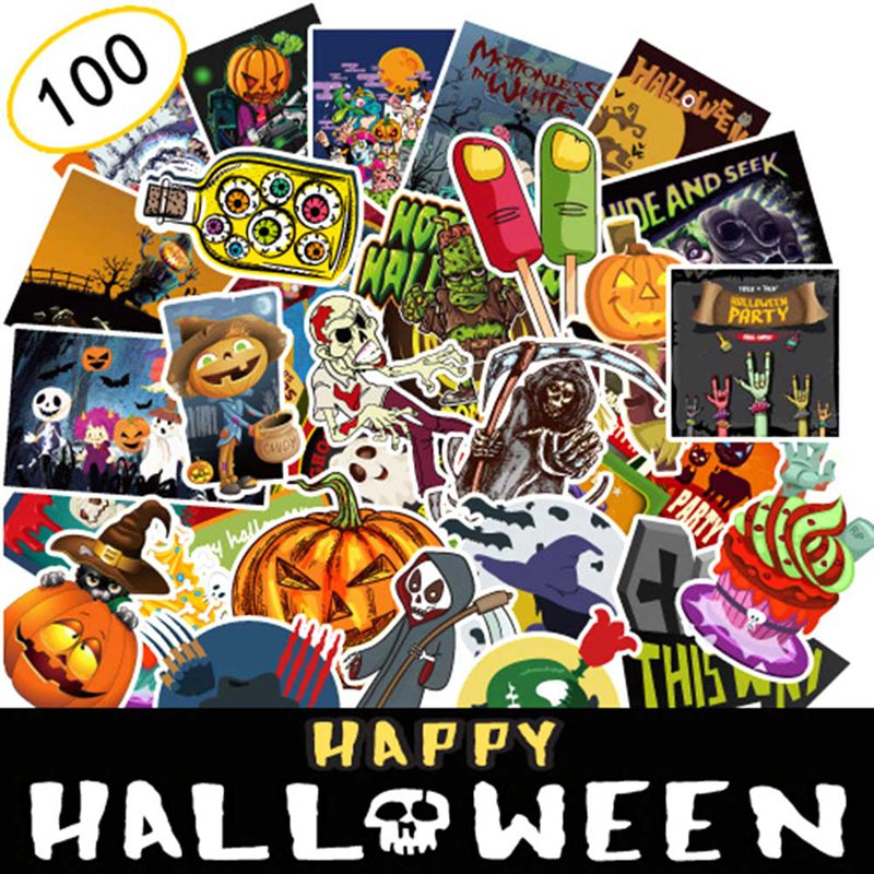 100pcs Watercolor Halloween Decorative Scrapbooking Sticker Skull Pumpkin Cool Diary Deco Stickers halloween creativity 3d stereotophora pumpkin window decoration wall stickers