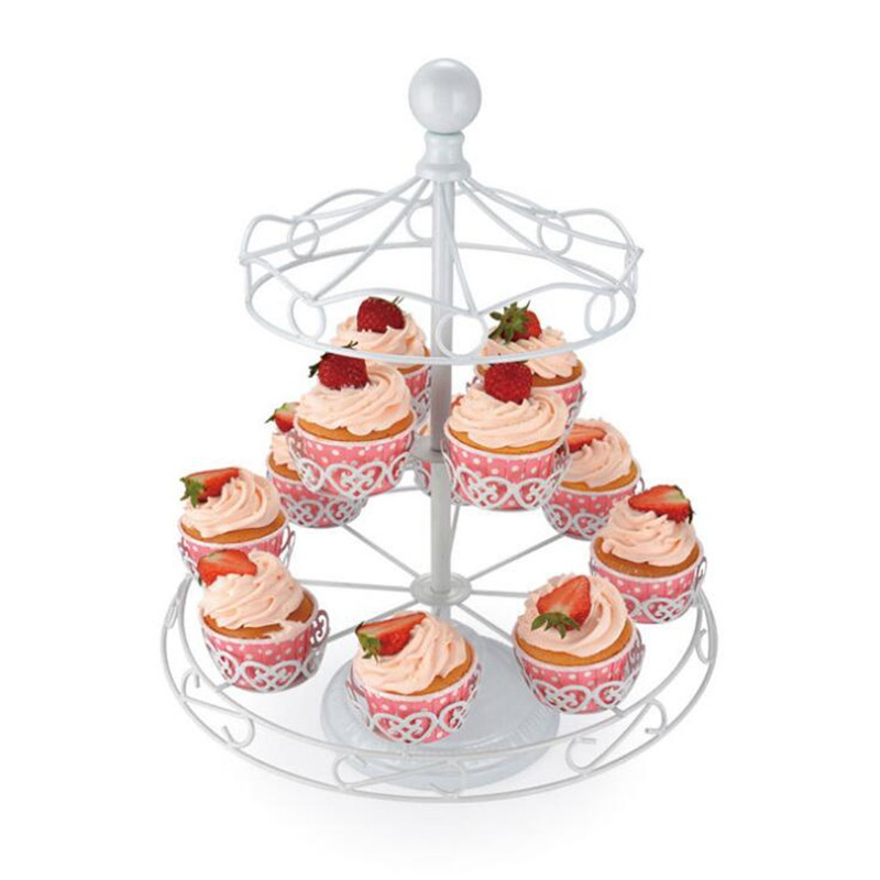 Delfenfen 1Set DIY Cake Stands Crown Stainless Steel for Cake Display Europe Style Carousel 12Cups for