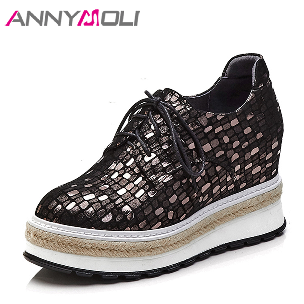 ANNYMOLI Genuine Leather Women Shoes Wedge Heels Bling Platform High Heels Sewing Lace Up Natural Leather Shoes Plus Size 34-42 annymoli platform high heels lace up wedge shoes ladies pumps pointed toe lace up increasing heels shoes black white size 34 39