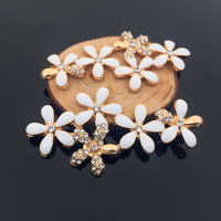 Free Shipping 20PCs 32 62MM Gold Color Plated Spring Flowers Button Patch Sticker Enamel Alloy Oil