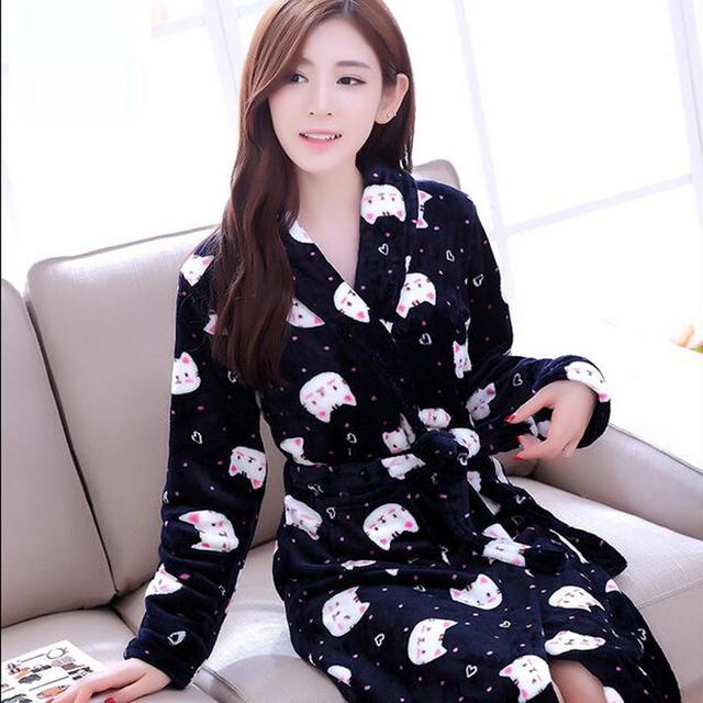 Mujeres Albornoces Bata 2017 Otoño Invierno de la Historieta de Manga Larga Soft Fleece Robes ropa de Dormir Femenina Salones Homewear Pijamas Kimono