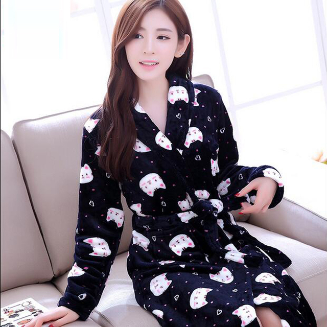 Women Robe 2017 Autumn Winter Cartoon Bathrobes Long Sleeve Soft Fleece Robes Female Sleepwear Lounges Homewear Pyjamas Kimono