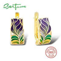 SANTUZZA Silver Earrings For Women 925 Sterling Silver Stud Earrings Gold Color Cubic Zirconia brincos Jewelry Enamel Handmade