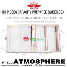 Medical teaching supplies biological 100pcs capacity microscope slides wooden box