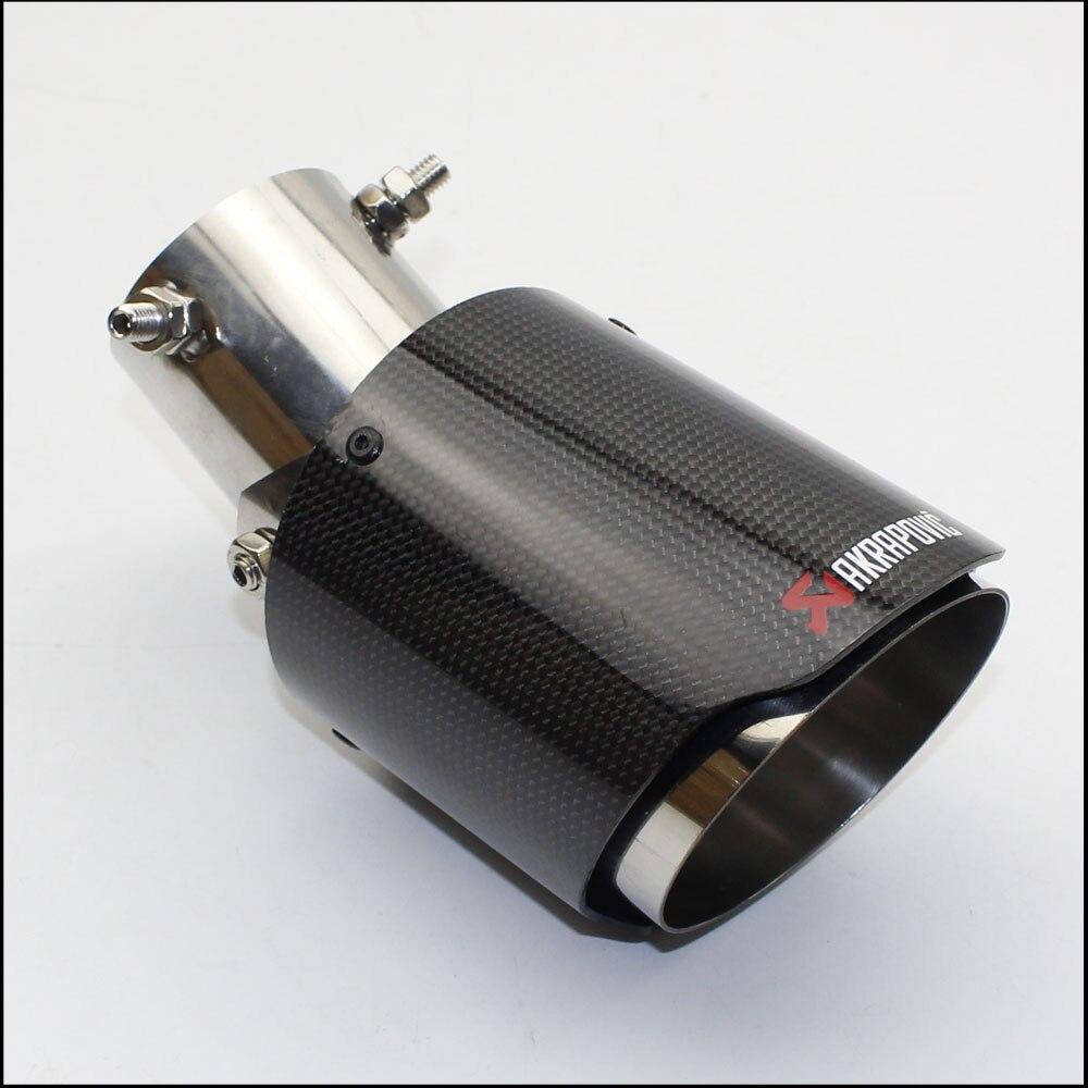 Style de voiture brillant + acier inoxydable AK Akrapovic tuyau d'échappement ajuster 45 degrés silencieux pour les embouts d'échappement universels en carbone