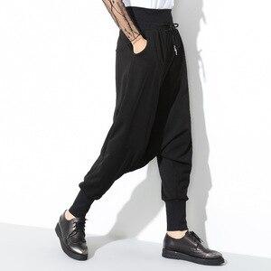 Image 3 - [EAM] 2020 Spring New Fashion Black Solid Drawstring Pockets Causal Loose Big Size Women High Waist Harem Pants RA224