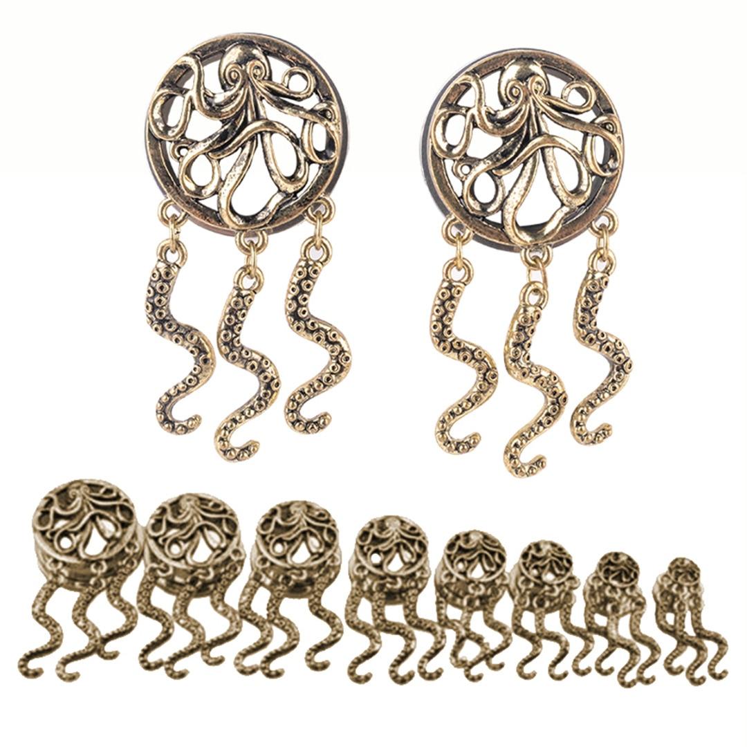 Körper Schmuck Schmuck & Zubehör LiebenswüRdig Gold Farbe Punk Schmuck Octopus Baumeln Ohr Stecker Tunnel Gauge Piercing Ring Flesh Erweiterungen Shellhard Mode Zubehör Unisex