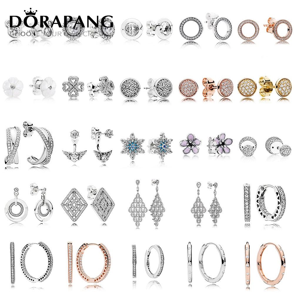 DORAPANG 100% 925 Sterling Silver Earrings Flower type Hollow Ear Studs charm Beads Fit Bracelet DIY Dangler Wholesale factory dorapang 100% 925 sterling silver snake chain necklace fit charm beads for women fashion jewelry diy bracelet factory wholesale