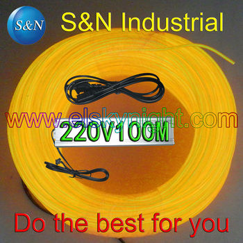 yellow100M Flexible Wire Rope Tube Neon Light with 100-240V AC inverter for holiday,party,festival and house decoration free EMS