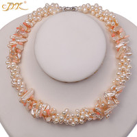 JYX Classic pearl necklace three strands 7*22mm white freshwater and pink coral sticks charming pearl choker 19 women