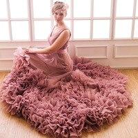 Custom Made Plus Size Organza Crystal Belt Beach V Neck Chapel Train Chiffon Bridal Gown Wedding