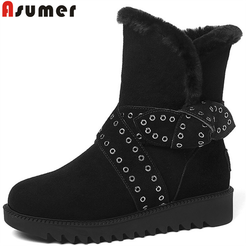 ASUMER big size 34-43 fashion ankle boots women round toe keep warm winter snow boots comfortable suede leather boots  ASUMER big size 34-43 fashion ankle boots women round toe keep warm winter snow boots comfortable suede leather boots