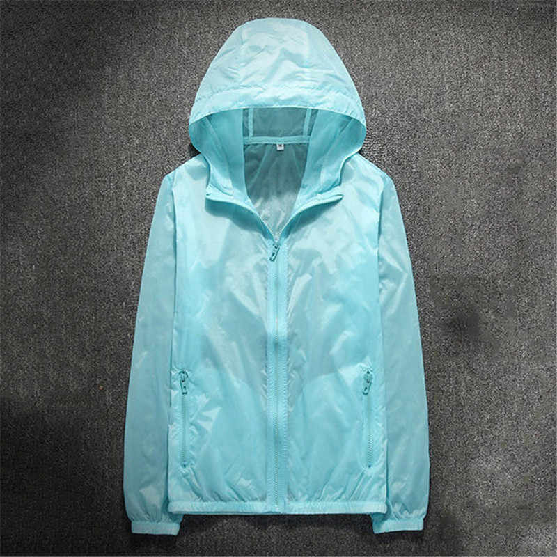 4c40cb54a Ultra Thin Summer Riding Sunscreen Jacket Women White Blue Plus Size Couple  Korean Casual UV Protection Hooded Coat Jacket CX698