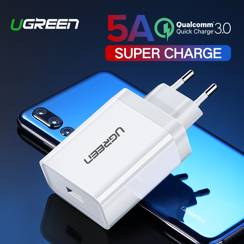 Ugreen USB Charger Super Fast Charger for Huawei Xiaomi iPhone X 8 7 Quick 3.0 Phone Charger EU Adapter Charging for Samsung s9 Зарядное устройство