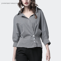 2019 Spring Summer Gray Plaid Shirt 7/10 Sleeve Turn down Collar Plus Size Female Street Office Wear Formal Dress Working Tops