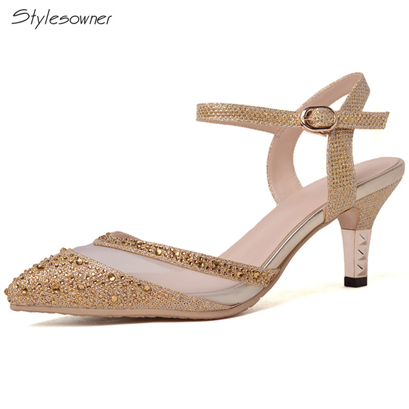 Stylesowner Sexy Bling Pointed Toe Summer Heels Pumps Buckle Shallow Mouth Mesh See Through High Heels Shoes Wedding Heels Shoes 2018 fashion design see through silver glitter shoes pointed toe low heels lace mesh pumps wedding shoes