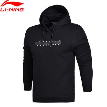 Li-ning Men Trend PO dzianinowa bluza z kapturem regularny krój komfort Fitness podszewka sportowa bluza z kapturem AWDN059 MWW1371 tanie i dobre opinie LINING Pasuje prawda na wymiar weź swój normalny rozmiar Flexible
