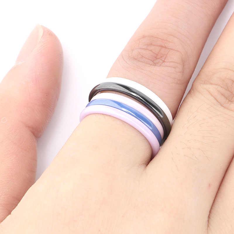 Caliente 2mm luz Rosa negro blanco azul púrpura hermoso liso anillo de cerámica para mujeres moderna boda ruso marca anillo joyería