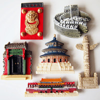 6 pcs / lot China Beijing Great Wall, the Temple of Heaven Tian'anmen Tourism Souvenir Fridge Magnet Message Board