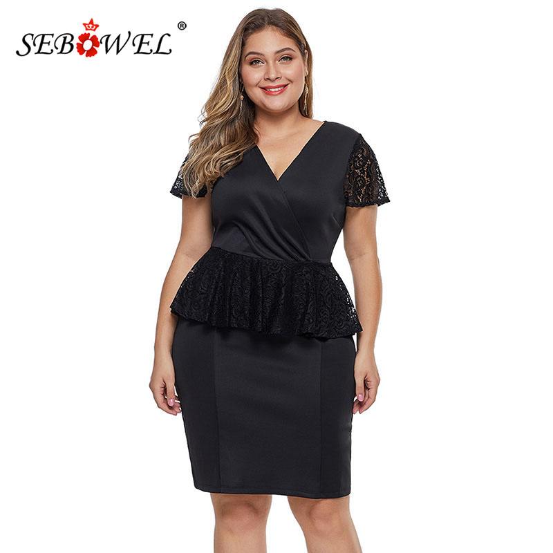 US $17.41 52% OFF|SEBOWEL Plus Size Black/Red Lace Peplum Dresses for Woman  Summer Elegant Short Sleeve Ruffles Knee length Party Large Size Dress-in  ...