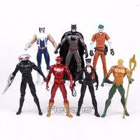 DC COMICS Action Figures 7pcs/set Batman Joker The Flash Catwoman Aquaman Captain Cold Black Manta PVC Toys 16cm